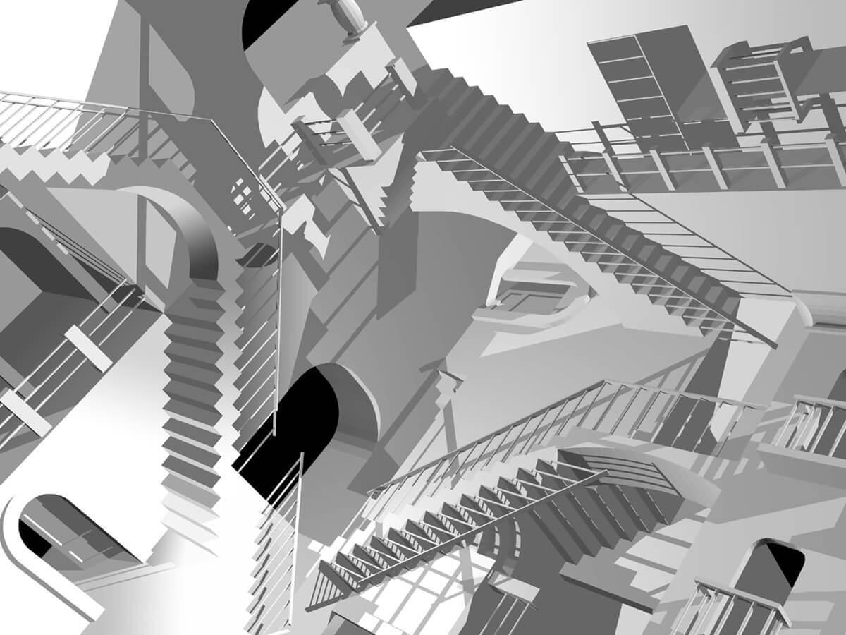 """Midnight Escher - A three-dimensional version of M.C. Escher's """"Relativity"""""""
